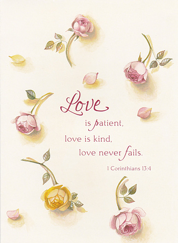 Card Love Is Patient Love Is Kind Love Never Fail Single Card