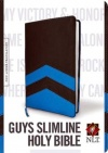 NLT Guys Slimline Bible Blue Chevron Edition