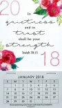 2018 Quietness and Trust, Mini Magnetic Calendar