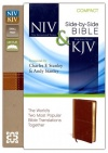NIV and KJV Side-by-Side Bible, Compact Italian Duo-Tone Edition, Camel/Burgundy