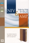 NIV / Amplified Side-By-Side Bible, Camel/Burgundy Soft Leather-look