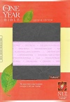 NLT One Year Bible Slimline Edition, Grey/Pink Leatherlike