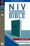 NIV Value Thinline Bible Large Print Turquoise Leathersoft