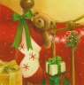 Christmas Cards - Christmas Teddy Bear in Stocking - Box of 14 - CMS